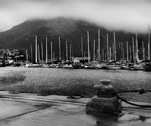 b&w, mountain, and sailboat image