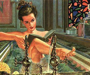 bath, vintage, and book image