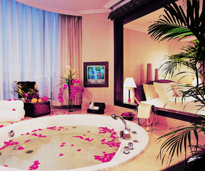 luxury, bath, and pink image