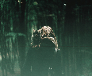 cat, girl, and forest image