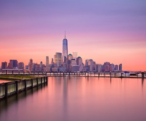 new york, city, and pink image