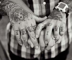 tattoo, black and white, and true love image