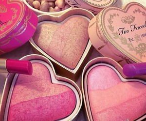 cosmetic, heart, and lipstick image