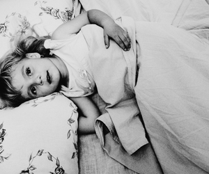bed, black and white, and kid image