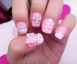 nails, cross, and girly image