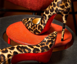 heels, louboutin, and leopard image