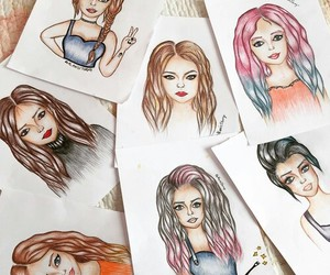 drawing, girl drawing, and style image