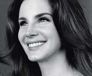 lana del rey, black and white, and smile image