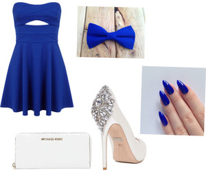 blue bow, blue dress, and blue nails image