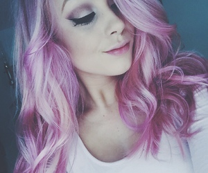 hair, dyed hair, and pink image