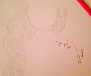 birds, drawing, and girl image