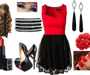black, red, and dress image