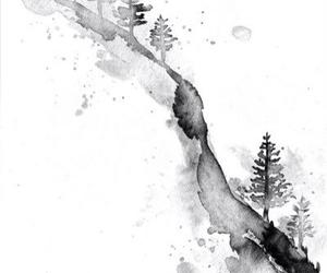 art, tree, and black image