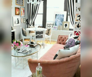 white table, white chandelier, and girly living room image