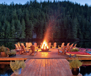 fire, lake, and water image