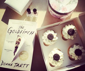 book, food, and cupcakes image