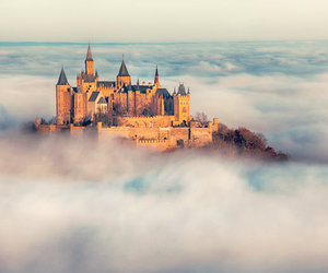 castle, clouds, and love image
