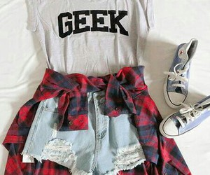 outfit, fashion, and geek image