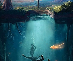 alone, cementery, and water image