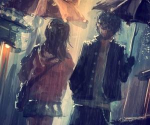 anime, rain, and boy image