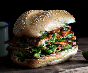 food, burger, and meat image