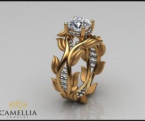leaf ring, vine ring, and designer engagement ring image