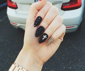 black, leopard, and nail art image