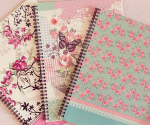 notebook, flowers, and pink image