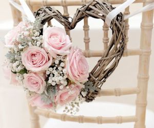heart, wedding, and flowers image