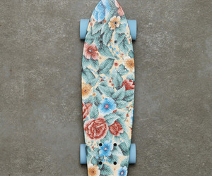 skate, flowers, and blue image