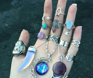 rings, necklace, and moon image