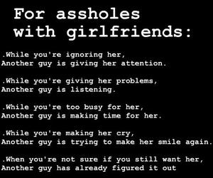asshole, girlfriend, and quotes image