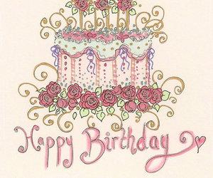 happy birthday, birthday card, and cake image