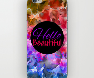 cell phone, floral pattern, and watercolor image