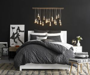 bedroom, room, and black image