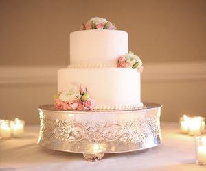 cake, wedding cake, and rose image