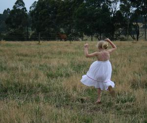 dress, fields, and little girl image