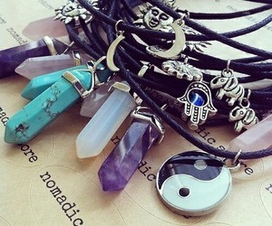 necklace, grunge, and crystal image