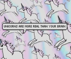unicorn, wallpaper, and brain image