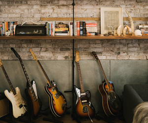home, guitars, and interior image