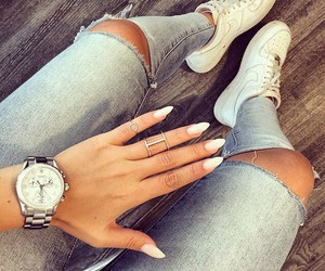 fashion, nails, and jeans image