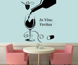 kitchen decor, wall decals, and wine glass image