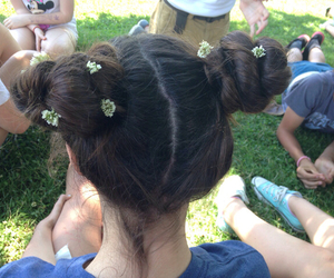 hair, flowers, and pale image