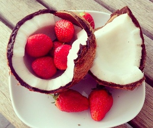 strawberry, coconut, and food image
