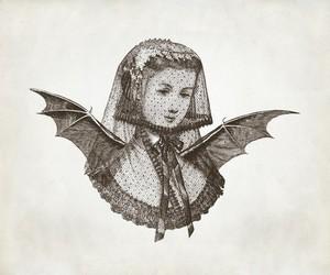 veil, vintage, and wings image