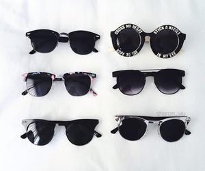 sunglasses, black, and grunge image