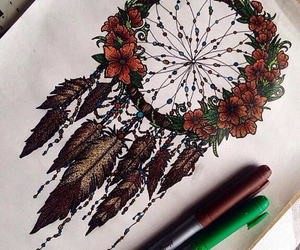 art, dream catcher, and flowers image