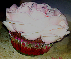cake, cupcake, and rose image