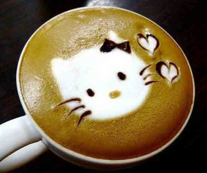 coffee, hello kitty, and cat image