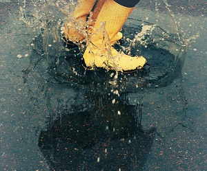 rain, boots, and puddle image